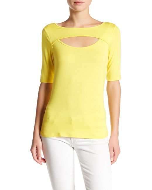 Cable & Gauge | Yellow Cutout Elbow Sleeve Tee | Lyst