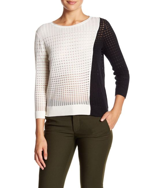 Magaschoni | Black Colorblock Silk Blend Pullover Sweater | Lyst