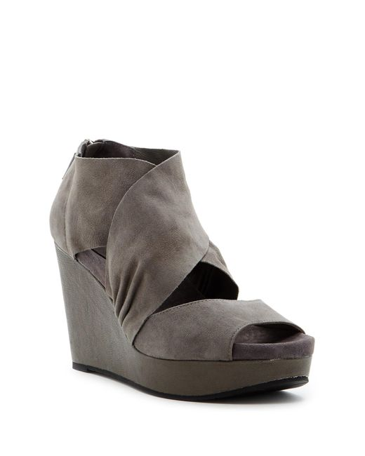 eileen fisher draw suede wedge sandal in gray lyst