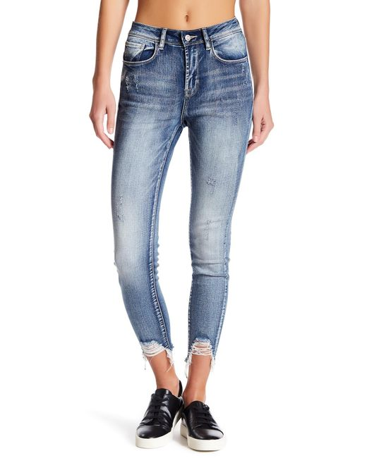 Kensie | Blue High Roller Sharkbite Skinny Jeans | Lyst