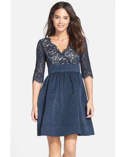 Eliza J | Blue Lace & Faille Dress | Lyst