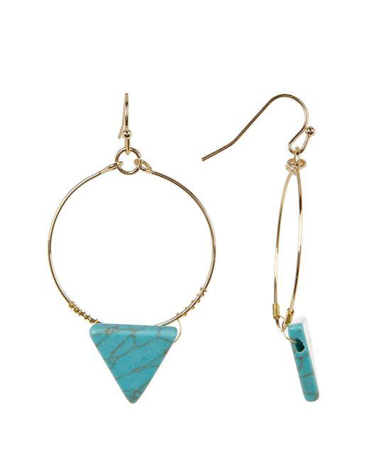 Cara   Multicolor Turquoise Triangle Hoop Dangle Earrings   Lyst