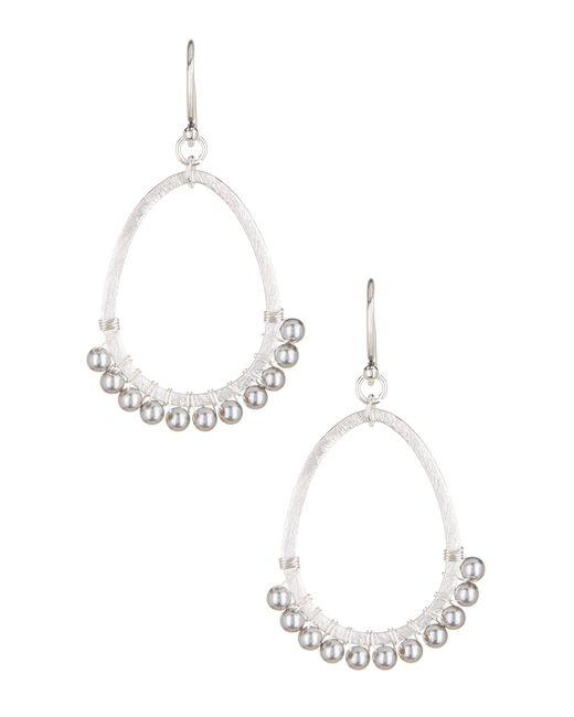 Chan Luu   White Swarovski Imitation Pearl Open Teardrop Earrings   Lyst