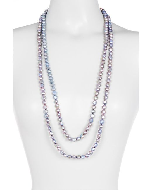 Splendid | Endless Dyed Baby Blue 8-9mm Cultured Freshwater Pearl Necklace | Lyst