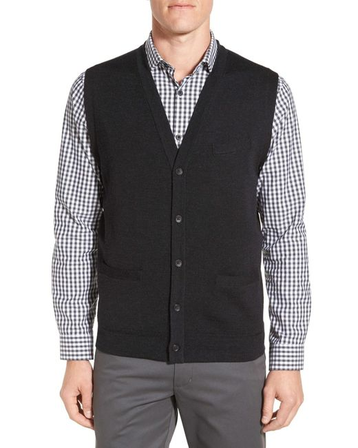 John W Nordstrom V Neck Wool Button Front Sweater Vest In