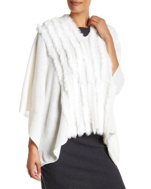 In Cashmere | White Genuine Rabbit Fur Wool Blend Cape | Lyst