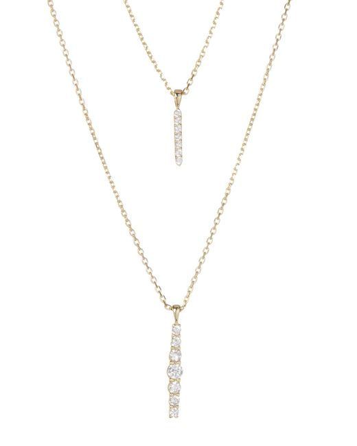 Lucky Brand | Multicolor Double Layer Pave Bar Necklace | Lyst