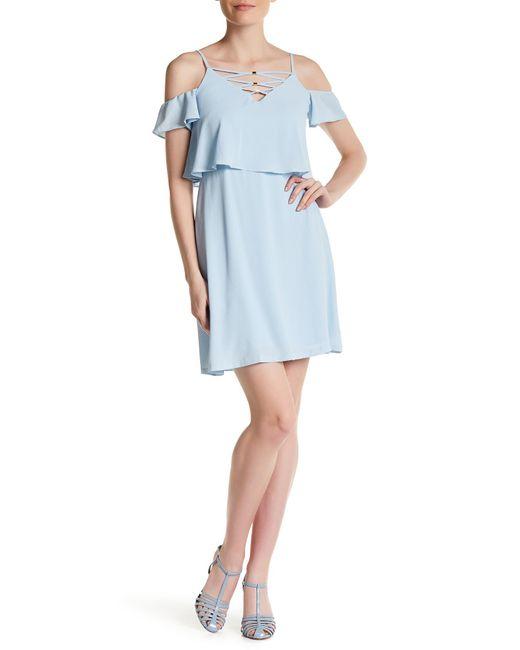 Jessica Simpson   Blue Cold Shoulder Crisscross Dress   Lyst