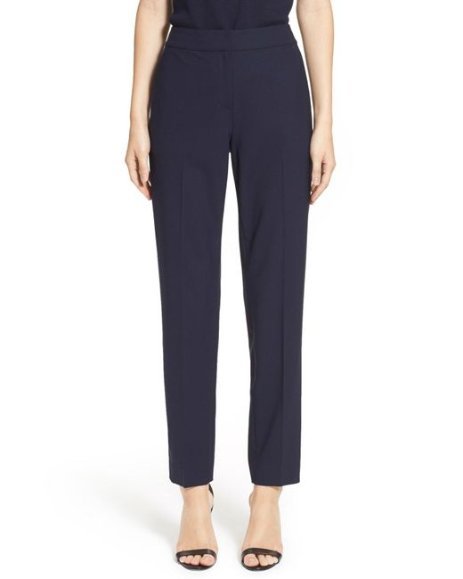 St. John | Blue 'emma' Tropical Wool Crop Pant | Lyst