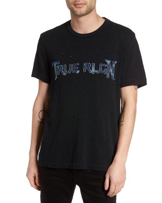 True Religion | Black Denim Applique Logo T-shirt for Men | Lyst
