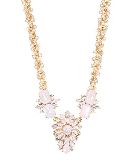 Carolee | Multicolor Large Embellished Flower Pendant Simulated Pearl Cluster Necklace | Lyst