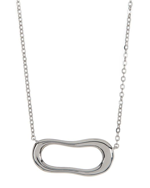 Nadri | Metallic Sterling Silver Sculpted Wide Pendant Necklace | Lyst