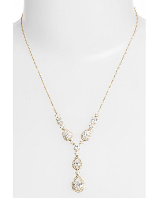 Nadri | Metallic Cubic Zirconia Y-necklace | Lyst