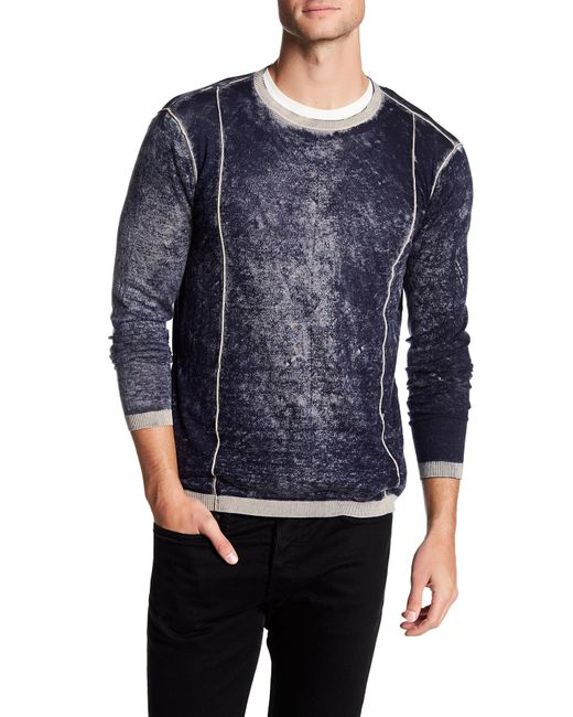 Autumn Cashmere | Blue Inked Contrast Crew Neck Shirt for Men | Lyst