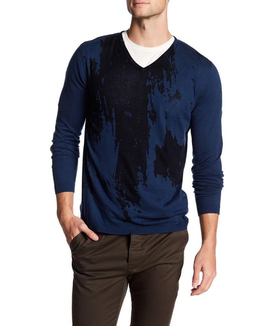 Autumn Cashmere | Blue Inked Thermal V-neck Shirt for Men | Lyst