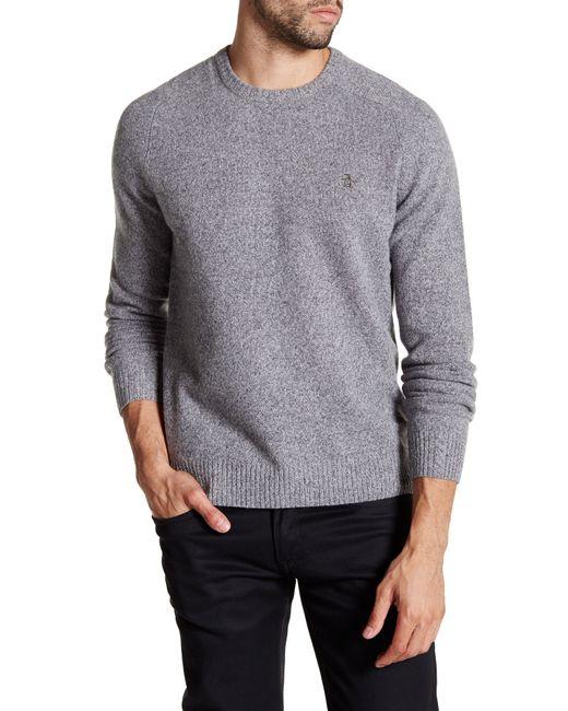 Original Penguin   Gray Lambswool Crew Neck Sweater for Men   Lyst