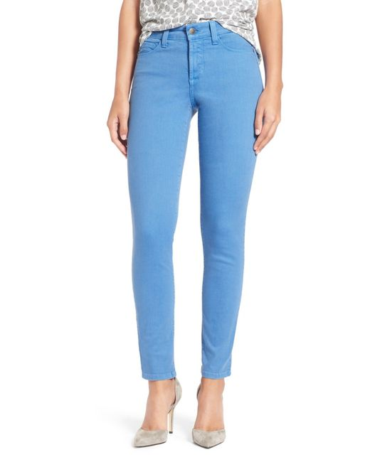 NYDJ | Blue 'clarissa' Colored Stretch Skinny Ankle Jeans (petite) | Lyst
