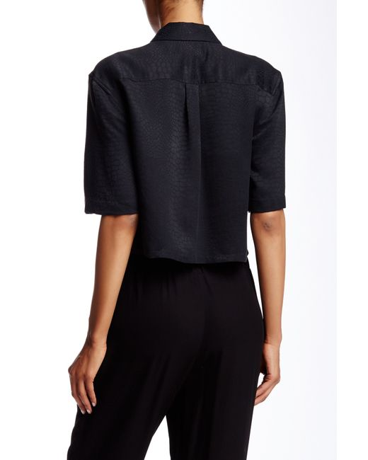 Equipment cropped short sleeve signature silk shirt in for Equipment black silk shirt