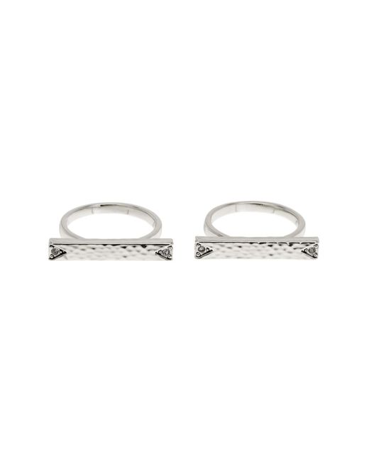 House of Harlow 1960   Metallic Accented Bar Ring Set - Set Of 2 - Size 7   Lyst