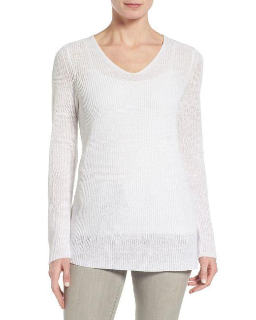 Eileen Fisher | White V-neck Organic Linen Sweater | Lyst