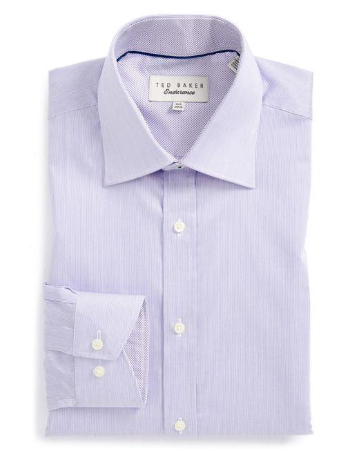 Ted Baker | Purple 'oncore' Trim Fit Micro Stripe Dress Shirt for Men | Lyst
