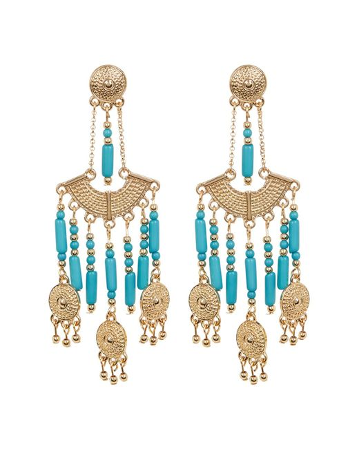 Steve Madden | Multicolor Bead Detail Textured Chandelier Drop Post Earrings | Lyst