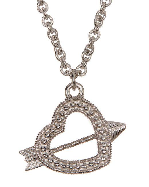 Judith Ripka | Metallic Sterling Silver Arrow Heart Charm Necklace | Lyst