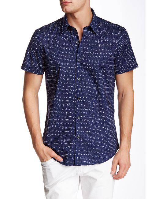 Antony Morato Slim Short Sleeve Polka Dot Shirt In Blue