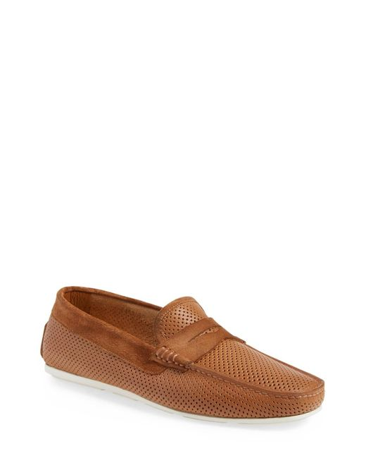 Santoni | Brown 'tanton' Perforated Leather Driving Shoe for Men | Lyst