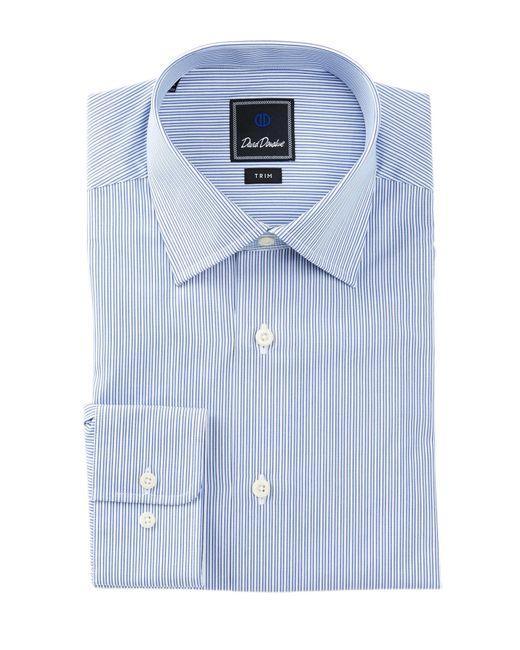 David Donahue Long Sleeve Trim Fit Stripe Dress Shirt In