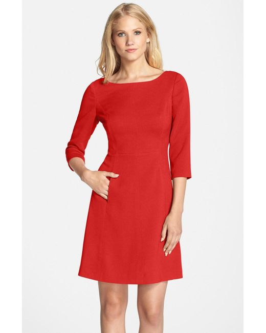 Vince Camuto | Red Crepe A-line Dress (petite) | Lyst