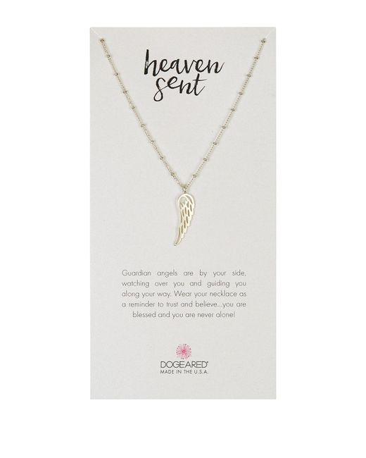 Dogeared | Metallic Sterling Silver Heaven Sent Single Angle Wing Pendant Necklace | Lyst