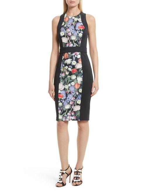 Ted Baker | Black Akva Kensington Floral Body-con Dress | Lyst