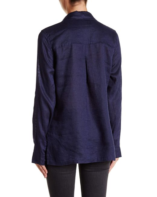 Michael stars linen button down shirt in blue lyst for Michael stars t shirts on sale
