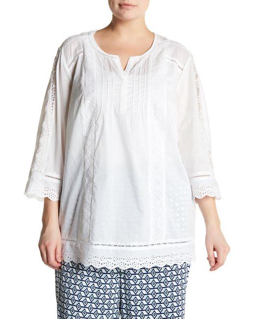 NYDJ | White Summer Love Lace Blouse (plus Size) | Lyst