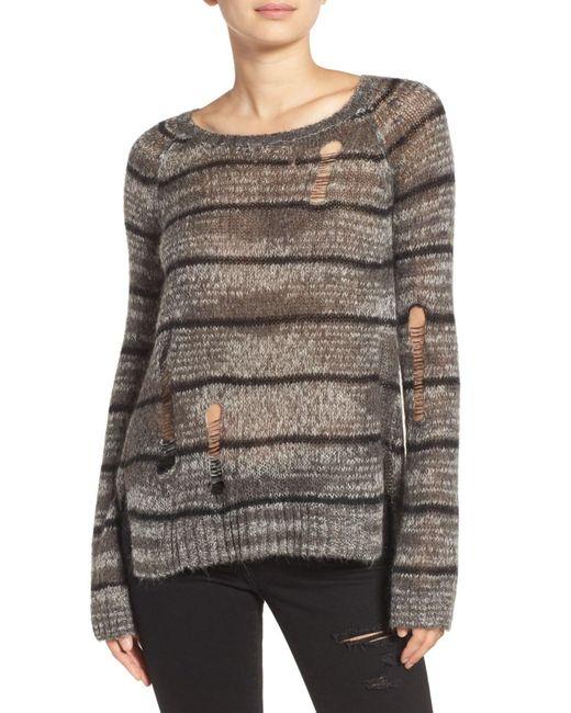 Pam & Gela | Gray Stripe Back Split Sweater | Lyst