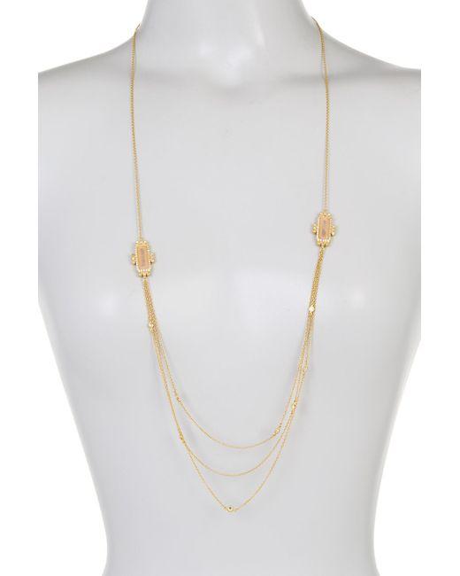 Freida Rothman | Metallic 14k Gold Plated Sterling Silver Rose Quartz & Cz Cascade Necklace | Lyst