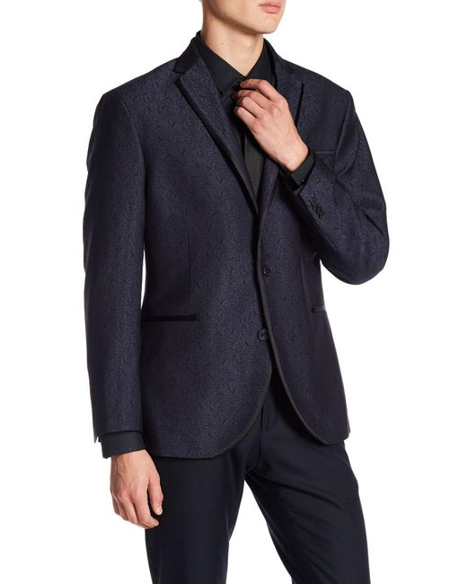 Kenneth Cole | Blue Pattern Shiny Evening Two Button Notch Lapel Trim Fit Sportcoat for Men | Lyst