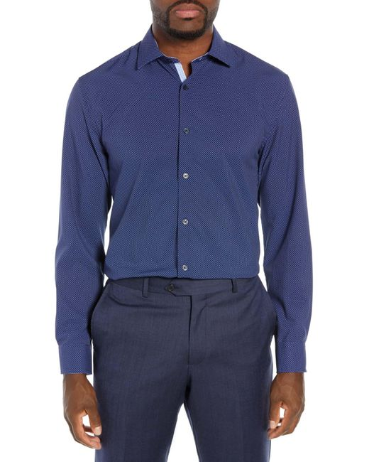 W.r.k. Blue Slim Fit Performance Stretch Dot Dress Shirt for men