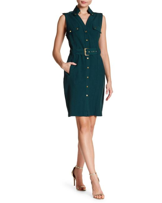 Sharagano - Green Snap Button Collar Belted Dress - Lyst