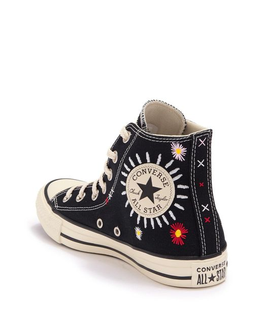 Converse Black Chuck Taylor All Star High Top Floral Embroidered Sneaker