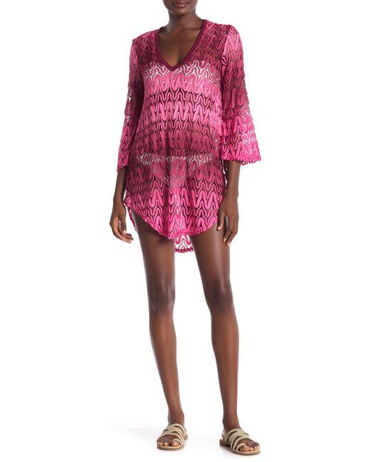 Jordan Taylor - Multicolor Ombre Crochet 3/4 Bell Sleeve Tunic - Lyst