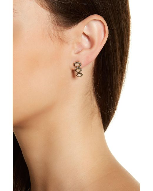 House of Harlow 1960 | Pink Tanta Crosshatch 3 Stone Earrings | Lyst