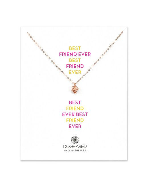 Dogeared | Metallic 14k Rose Gold Plated Sterling Silver Best Friend Ever Wrapped Heart Pendant Necklace | Lyst
