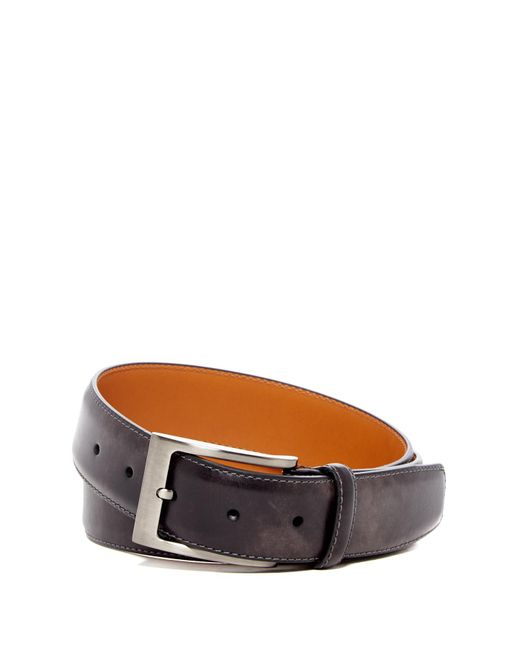 Magnanni Shoes - Gray Square Buckle Leather Belt for Men - Lyst