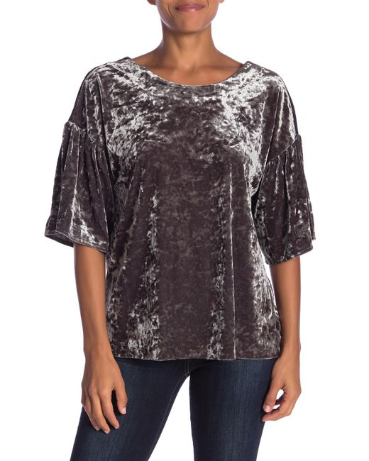 B Collection By Bobeau Green Emma Flutter Sleeve Velour Top
