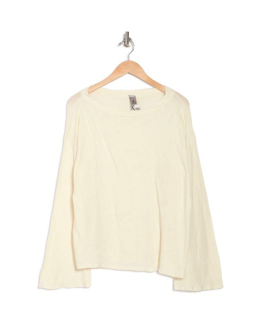 Go Couture Natural Crew Neck Long Sleeve Top