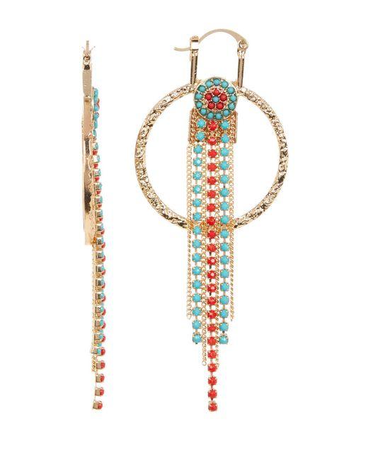 Steve Madden   Metallic Two-tone Bead Detail Fringe Drop Textured Circle Earrings   Lyst