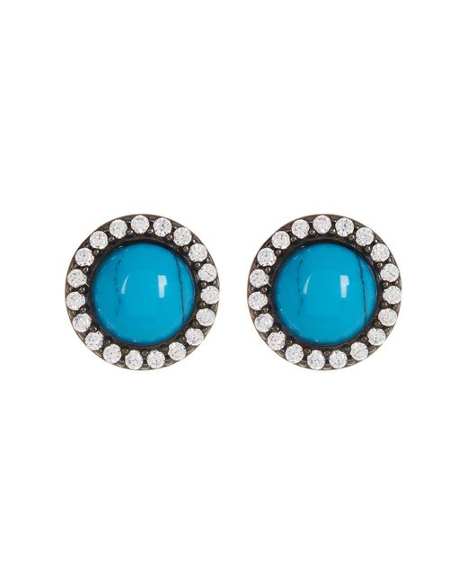 Adornia - Blue Sterling Silver Turquoise & Swarovski Crystal Accented Halo Stud Earrings - Lyst