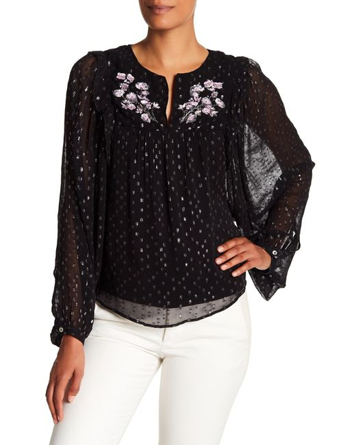 Parker - Black Star Sequin Yoke Blouse - Lyst